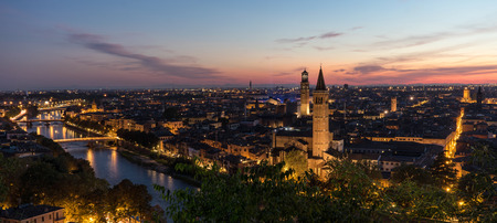 View on the old town of Verona Italy in the evening