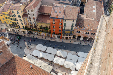 View of the piazza Piazza Erbe from the Torre dei Lamberti in Verona Editorial