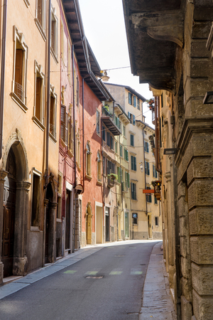 View into an old town of Verona in Italy