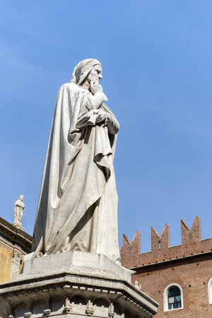 Sculpture of the philosopher Dante Alighieri in Verona in Italy
