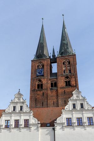 Gothic church tower and gable of the town hall of Stendal