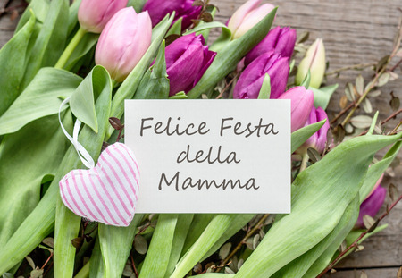 Greeting card to mothers day with pink and purple tulips heart greeting card to mothers day with pink and purple tulips heart and italian text m4hsunfo