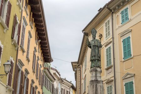 Statue of the city patron Saint San Carlo Borromeo in Salo on Lake Garda in Italy