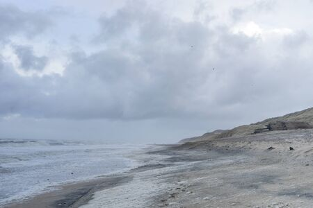 Seascape of the island of Sylt during a storm