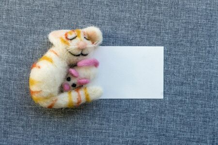 A sleeping, smiling cat holds a mouse in her arms Standard-Bild