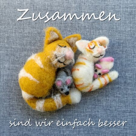 Greeting card with cats and mice with German text: Together we are simply better
