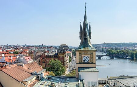 View from the Old Town tower to the Vltava and the roofs of Prague