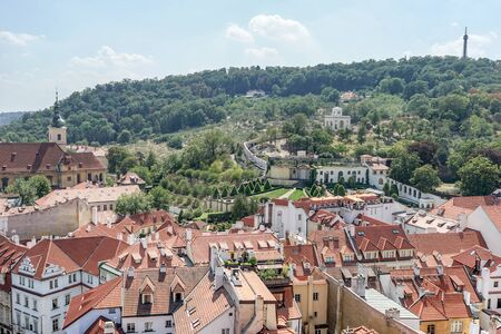 Rooftops of Prague and American embassy, view from the bell tower of the Nicholas Church