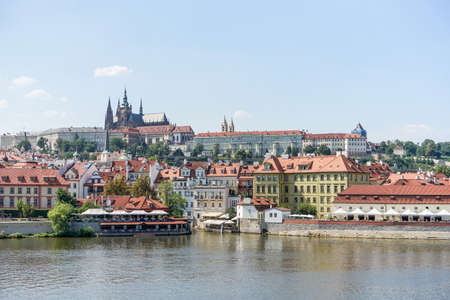 View over the Vltava to the Prague Castle Editorial