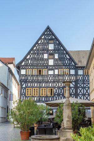 Historic half-timbered house - Köstritzer Schwarzbierhaus in Weimar Editorial