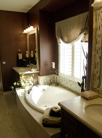 Richly designed bedroom master bathroom