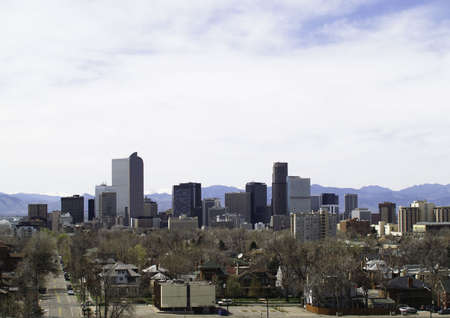 Downtown, Denver, CO buildings as viewed from east to west. Stock Photo