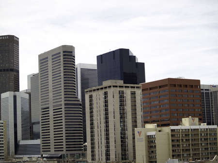 denver co: Downtown, Denver, CO buildings as viewed from southwest to east.  All eyes will be on Denver, Colorado for next years Democratic National Convention Stock Photo