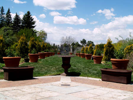 denver botanical gardens: Formal garden with rows of trees