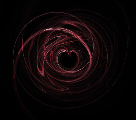 entwined: Pretty pink heart on black with motion swirls