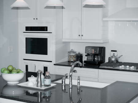 modern new kitchen with center island Stock Photo