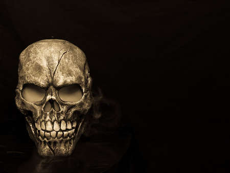 Spooky steaming skull in sepia.  Happy Halloween!