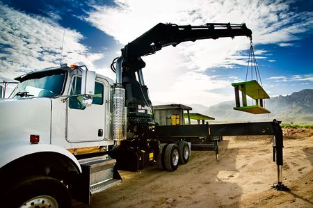 trench: Truck Mounted Crane Trench Shoring Equipment Stock Photo