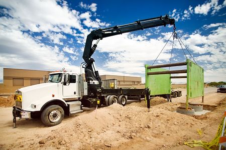 excavation: Truck Mounted Crane Trench Shoring Equipment Stock Photo