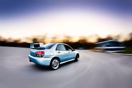 subaru: Moving Japanese performance rally race car Stock Photo