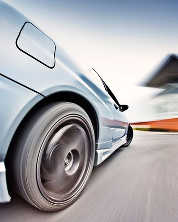 drifts: Moving Japanese performance race drift car Stock Photo