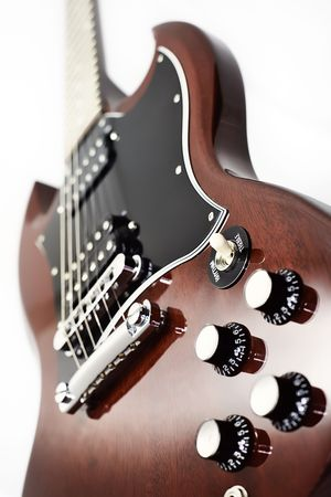 sg: Classic Electric Rock Guitar SG Style Stock Photo