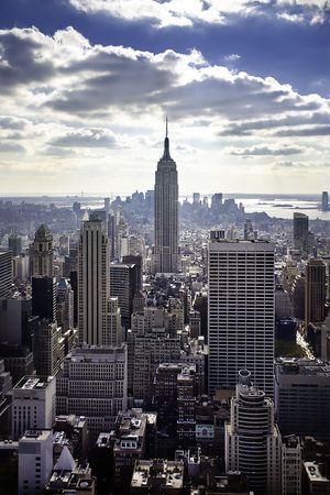 empire state building: NYC skyline and the Empire State Building Stock Photo