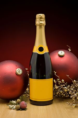 Bottle of Champagne at christmas photo