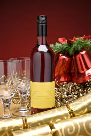 Rose wine on a decorated christmas table photo