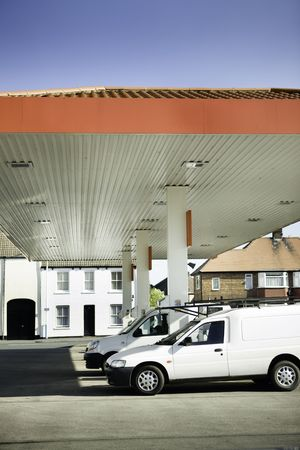 vehicle parked at gas petrol filling station photo