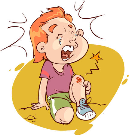 white background vector illustration of a foot bleeding child