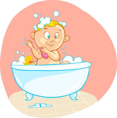 bath time: vector illustration of a Happy cartoon baby kid in bath tub