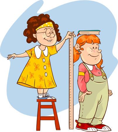 measuring: vector illustration of a length measuring children Illustration