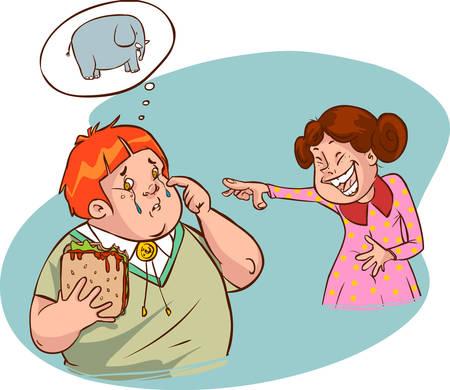 obesidad infantil: ilustración vectorial de un niño gordo lindo y chica