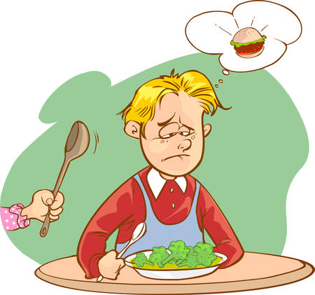 food illustration: vector illustration of a children who do not like vegetables