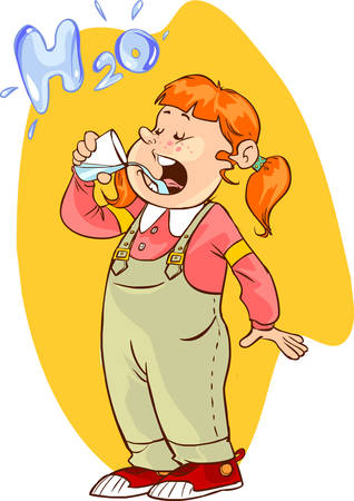 girl drinking water: vector illustration of a  cute girl drinking water Illustration