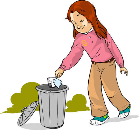 novice: vector illustration of a The children throw garbage