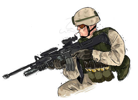 nato: vector illustration of a soldier with rifle