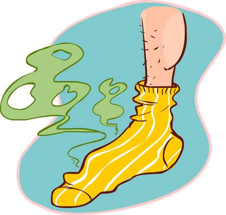 ilustracji wektorowych śmierdzącego skarpetki