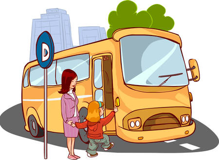 lucky break: vector illustration of a mother and child on the bus Illustration