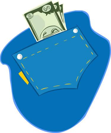 illustrazione vettoriale di dollari nella tasca dei jeans blu Vettoriali