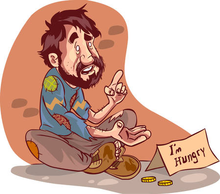 vector illustration of a beggar Çizim