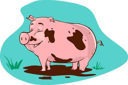slop: vector illustration of a muddy pig Illustration