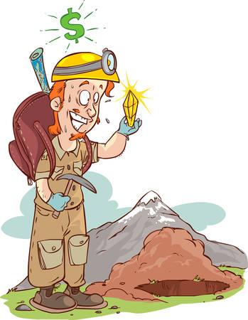 archaeologist: vector illustration of a diamond hunter