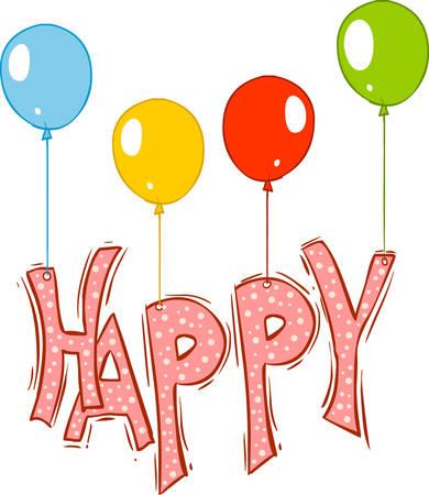 verbs: vector illustration of a happy ballons Illustration