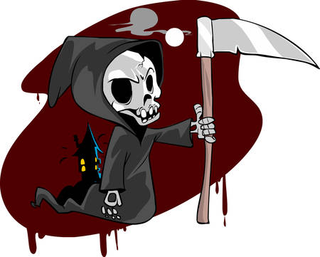 vector illustration of a skeletal Grim Reaper Illustration