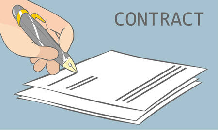 signing contract: vector illustration of a signing contract Illustration