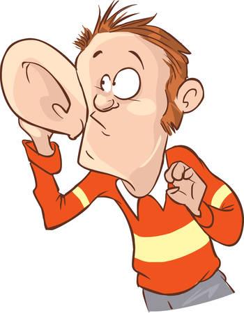 Hören mit Hand zum Ohr-Vektor-Illustration Vektorgrafik