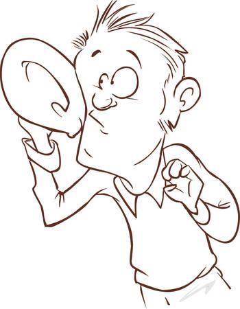 Hören mit Hand zum Ohr-Vektor-Illustration