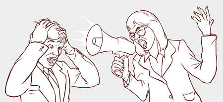 frustration: vector illustration of a Megaphone Woman, Frustrated Man